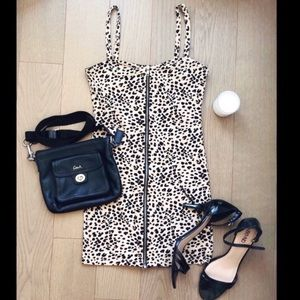 H&M Leopard Print Zip Up Body Con Dress